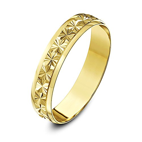 Theia 9ct Yellow Gold Heavy Weight - Star Centre Design D-Shape 4mm Wedding Ring - Size S