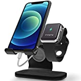 Apple Watch Stand, ZVEdeng Phone and Apple Watch Stand, Apple Watch Charging Station Stand Dock, Universal Stand Holder for iPhone 12 Pro Max/12/12 Pro/12 Mini Apple Watch 38mm-42mm-Black Leather