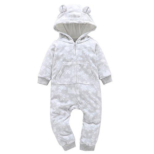 DAY8 Vêtement Bébé Garçon Hiver Noël Pyjama Bébé Garçon Naissance Pas Cher Combinaison Bébé Fille Automne Body Nouveau Né Fille Manteau Fille Barboteuse Combipilote Cartoon (24M(18-24 Mois), Gris)