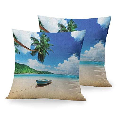 N\A Gedruckte Kissenbezug Strand, Boot am Strand Mahe Island Lagune Seychellen Exotische Küstenbild, Blau Grün Sand Braun Home Chair Room Decor