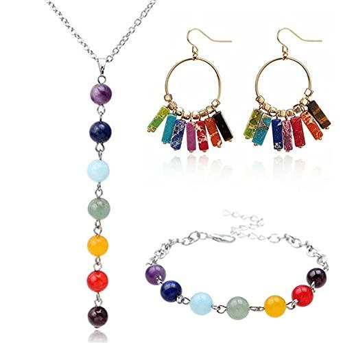 DALIANMAO Collar para Mujer Joyas de Yoga Conjuntos Curación Reiki Pendientes Pulsera Collares Colgantes Piedra Natural Gema Piedra Mala Beads Set (Metal Color : 3Pcs)