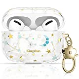 KINGXBAR UV Sensor Unique AirPods Pro Case Cover Full Protective TPU Frame Bling Crystal from Austria Floral Clear Hard PC Cover with Keychain for Apple AirPods Pro Cute Starry Sky Fashion Design