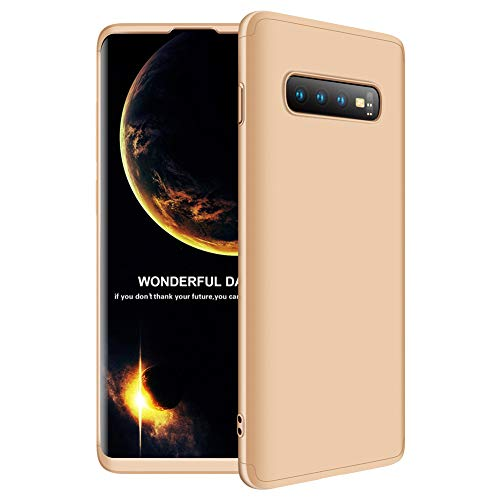 Kompatibel Samsung Galaxy S10e | S10 | S10 Plus Hülle 3 in 1 Ultra Dünner PC Plastik Harte Case 360 Grad Ganzkörper Schützend Anti-Kratzer Schutzhülle für Galaxy S10e S10 Plus (S10 Plus, Gold)