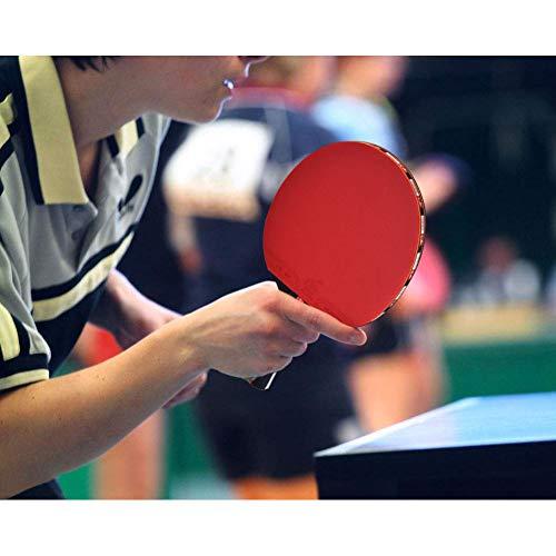 Oumij Juegos de Tenis de Mesa, Raqueta de Ping Pong de 2 Paletas para Padel con 3 Bolas para Jugadores con Apretón de Manos