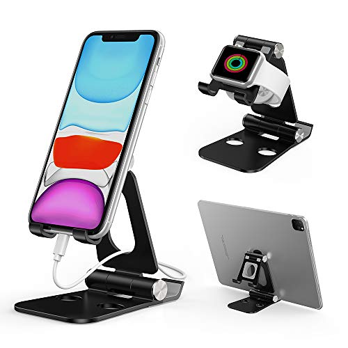 Cell Phone Stand,OVOOR Adjustable Double-Side Phone Stand,Foldable Aluminum Desktop Phone Holder Cradle Dock Compatible with All Smartphone/iPhone/iPad Mini/Nintendo Switch/Tablets