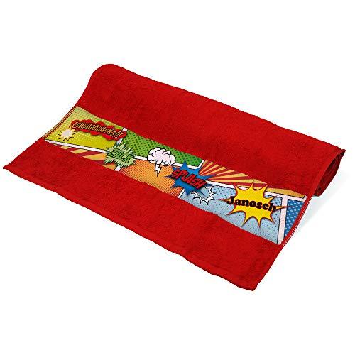 Eurofoto Handtuch mit Namen Janosch und Buntem Comic-Motiv für Jungen | Kinder-Handtuch Bedruckt | Farbe: Rot | 50 x 100cm