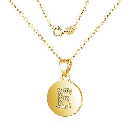 Canarea Dames- en meisjeshalsketting, echt 925 sterling zilver met zirkonia-alfabet-hanger, eenvoudige Y-ketting, persoonlijke ronde halsketting voor dames, vriendin, dochter, gouden
