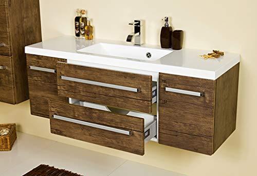Quentis Waschplatzset Genua, Breite 120 cm, Waschbecken mit Unterschrank, Holzdekor antik, 2 Türen, 2 Schubladen, Lieferung des Waschbeckenunterschranks montiert