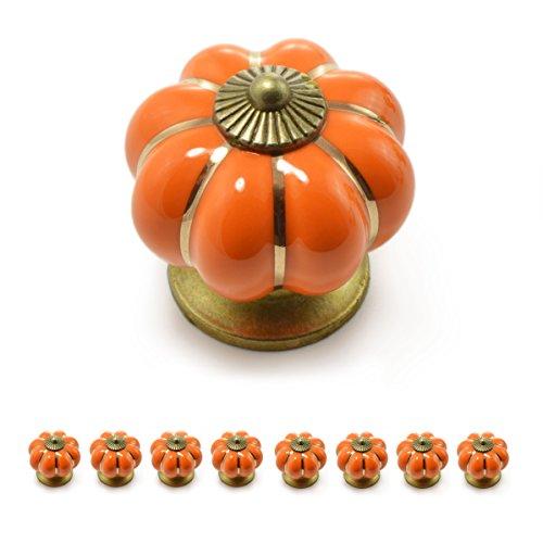 """Set Möbelknöpfe """"Krone"""" aus Porzellan mit antik Bronze Verzierung, (Set in vielen verschiedenen Farben erhältlich) Vintage Schrankknauf aus Keramik, Möbelgriff, Marke Ganzoo (8er SET, Orange)"""