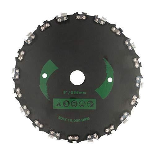 VSOO Cortadora de Cabeza de cortadora de césped de Acero de 9 Pulgadas Piezas de cortadora de césped Cortador de Cepillo de Cuchilla de Dientes de 20 Discos Hierba de Hierba