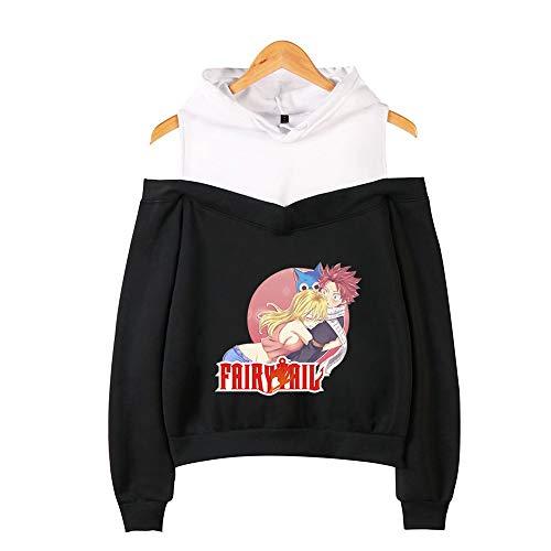 BRQ Hadas Cola- suéter con Capucha, Camiseta de Las Muchachas, Flojo sin Tirantes Sudaderas con Capucha Casual Divertido Sudaderas Tops Ropa (Color : Black D, Talla : XS)