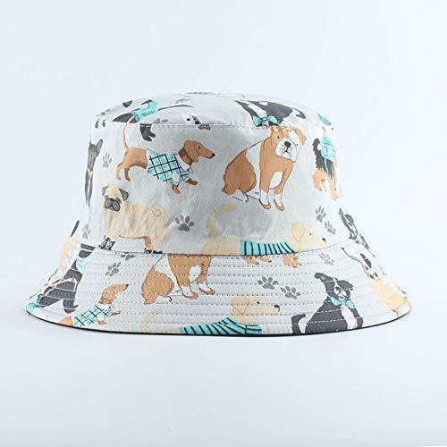 MTBDLYQ Chapeau De Pêcheur Femme,Unisex Fisherman Hat Animal Bichon Print Men Women Réversible Bucket Hat Hip Hop Cap, Automne Vintage Casual Adult Travel Sun Fishing Hat
