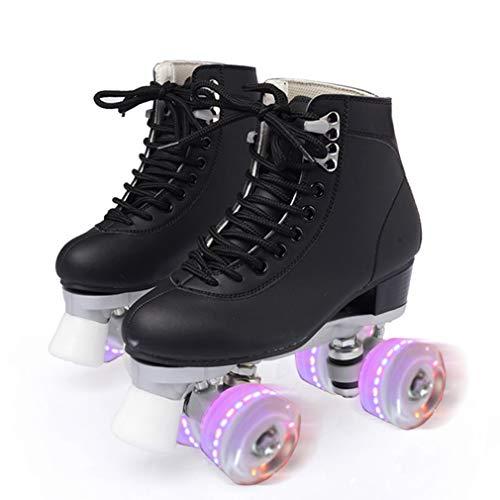 Giardino Rollschuhe für Frauen Männer, Atmungsaktive Rollschuhe mit Flash-Entlüftung und LED-Licht, Zweireihige Quad-Rollschuhe, für Outdoor-, Indoor- und Eisbahn-Skating