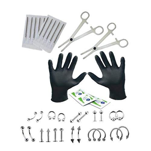 Professionelle Piercing Kit Hals-nasen-nabel-piercing Nippel-set Mit Schmuck Nadeln Handschuhe Piercing Supplies 1set Beauty Supplies
