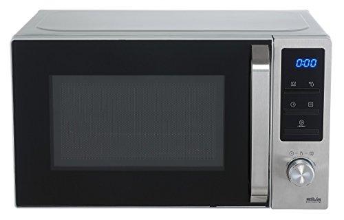 Silva-Homeline MWG-E 20.8 INOX Mikrowelle mit Grill, 800-1000 W, beleuchtetes LCD Display, 20 L Garraum, 5 Leistungsstufen