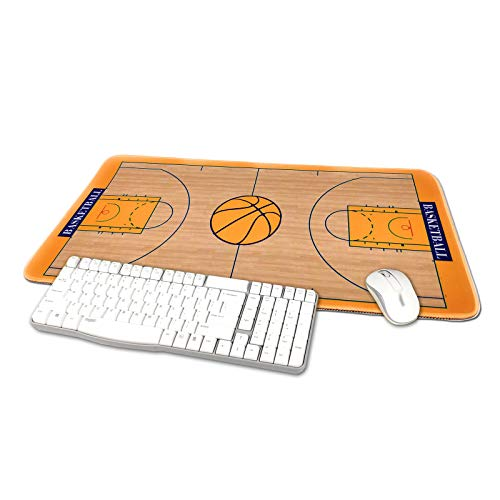 TriPro Basketball Arena Design Large Gaming Mouse Pad XXL Extended Keyboard Mat Desk Pad Big Mousepad,Size 23.6'x11.8',Water-Resistant,Non-Slip Base,for Baksetball Fans Gifts (Orange)