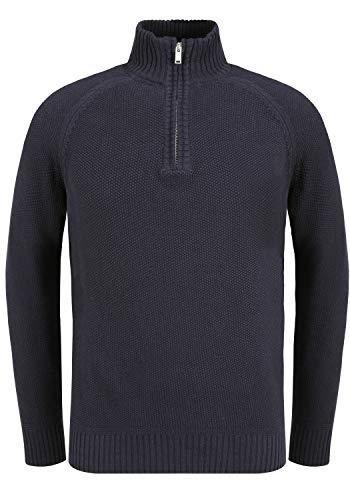 Blend Thompson Herren Winter Pullover Strickpullover Troyer Grobstrick mit Reißverschluss, Größe:XXL, Farbe:Dark Navy Blue (74645)