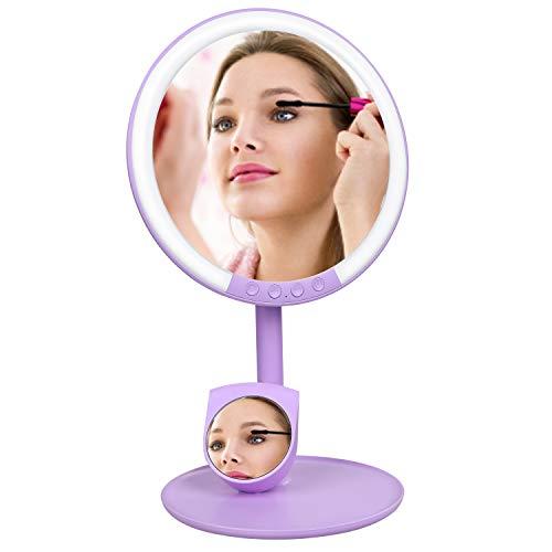 Lictin Specchio da Trucco con Luce LED - Specchio Illuminato USB Ricaricabile Regolabile a 180 ° con Un 7X Specchio Ingranditore,Luce Bianca, Luce Calda, Luce Naturale