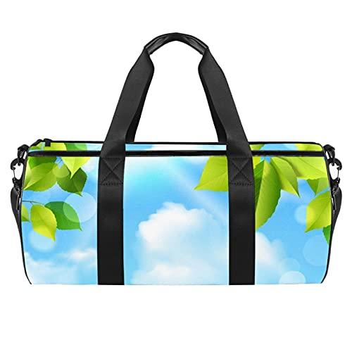 Blue Sky con hojas bolsa de gimnasio para hombres y mujeres bolsas de fin de semana bolsa de viaje deportiva con bolsillo impermeable