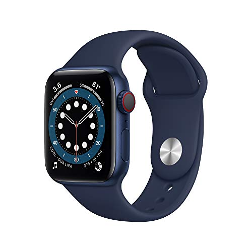 New Apple Watch Series 6 (GPS + Cellular, 40mm) - Blue Aluminum Case with Deep Navy...