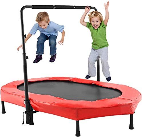 Profun Mini Trampolín Fitness Interior / Exterior - Manillares Ajustables y Sistema de Cuerda Elástica para Niños / Adultos (Carga máxima: 220 lbs) (Rojo 2)