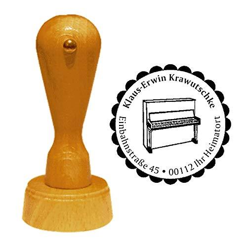 Stempel adresstempel » KLAVIER » diameter ca. Ø 40 mm - met persoonlijk adres, motief en sierrand - muziekinstrument vleugel Piano Pianist