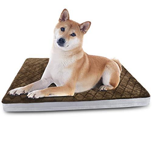 Hero Dog 犬ベッド 犬マット ペットマット 洗える ペットベッドクッション 中型犬 老犬 足の弱いワンコの為の介護用ベッド 取り外せるカバー 柔らかくて暖かい 滑り止め 80*65*5cm(ブラウン M)