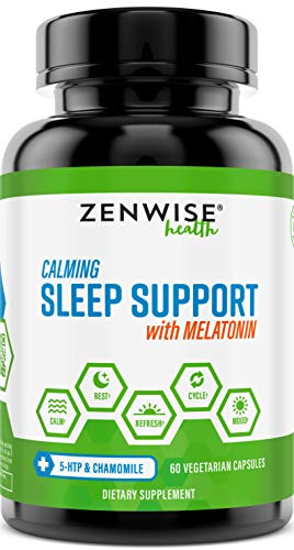 Natural Sleeping Aid - Nighttime Sleep Support Supplement - with 100 MG 5 HTP + Magnesium to Fall Asleep Fast - Chamomile & Melatonin for a Calm & Restful...