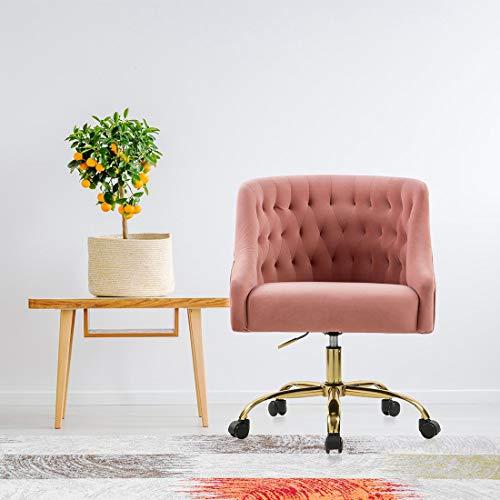 Velvet Fabric Pink Desk Chair for Home Office | Swivel Task Chair | Modern Design | Chairs for Bedroom Desk | Girls | for Women | Pink |