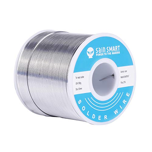 SainSmart 0.8mm Solder Wire 63/37 Tin/Lead Sn63Pb37 with Flux Rosin Core for Electrical Soldering (500g /1.1lbs)