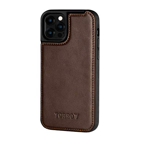 TORRO Phone Case Compatible With Apple iPhone 12 Pro Max – Back Leather Bumper Case with Built-In MagSafe Connection (Dark Brown)