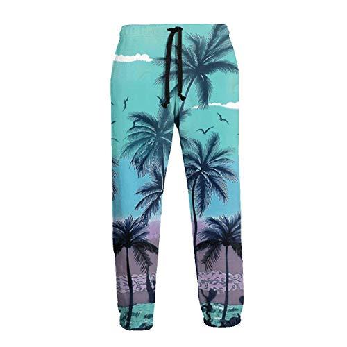 Lewiuzr Pantalones de chándal con Bolsillos en Verde Militar Palm Tree para Hombre