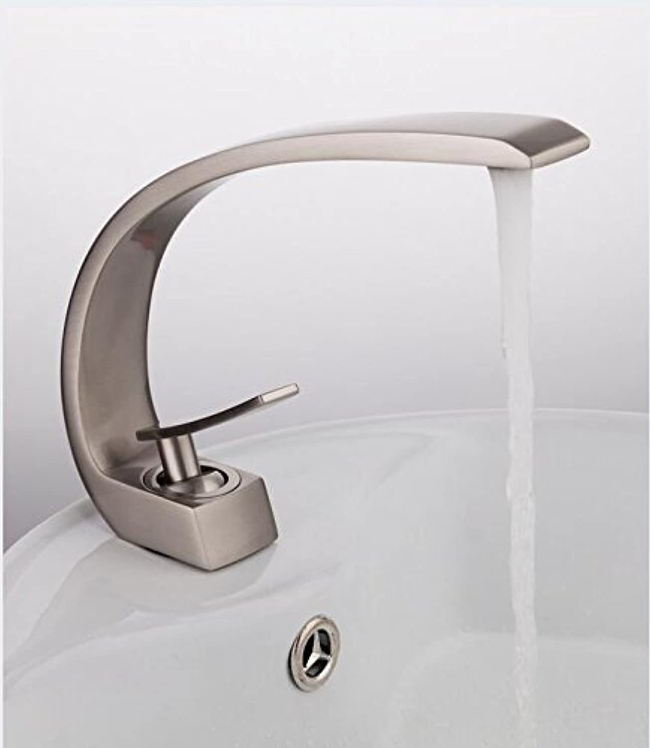 Makej New Brass Bath Basin Faucet Brush Nickel Sink Mixer Tap Vanity Hot and Cold Water Taps Bathroom Faucets
