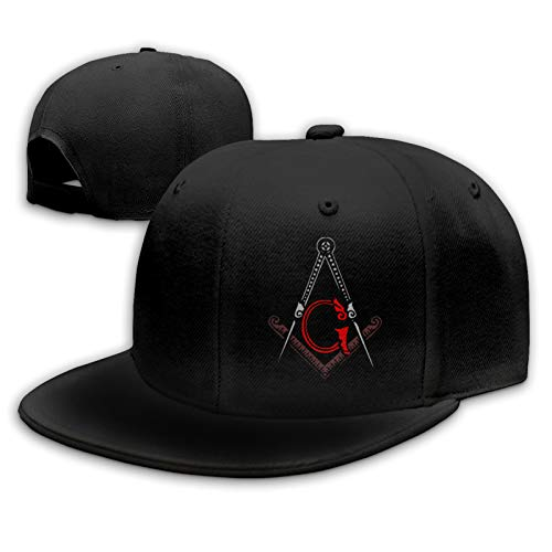 Freemason Square and Compass Cool Red Flat Bill Hats Snapback Hat Brim Baseball Caps for Men Adjustable (One Size, Black64)