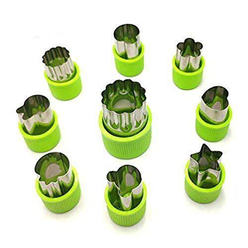 Nifogo Plätzchen Ausstecher, Ausstechformen, 9 Stück Edelstahl Keksausstecher, Torten Deko, Fondant Ausstecher Backzubehör für Kuchen Plätzchen Gemüse Obst (9 Stück)
