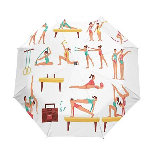 SUHETI Ombrello Portatile,Cavallo con maniglie e nastri Atleta Figure che eseguono acrobazie Patternmulticolor,Ombrello Pieghevole Automatico Antivento