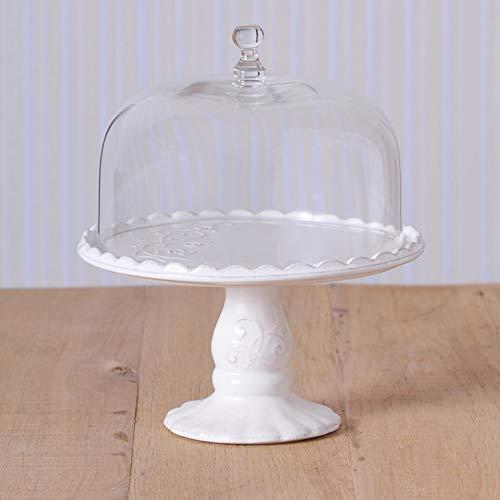 Virginia Casa Linea Volute Présentoir à gâteau blanc avec cloche en verre, Ø 22.5 cm