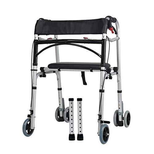 TTOOY Andadores estándares y Ligeros Bastidor para Caminar, Andador de Aluminio Ligero Plegable con 2 o 4 Ruedas de Altura Ajustable ⭐