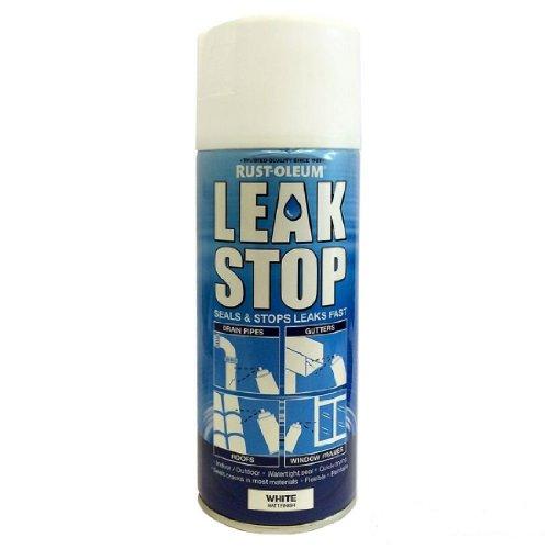 Rust-Oleum Leak Stop White Spray 400ml Pipe Repair Rubberised Watertight...
