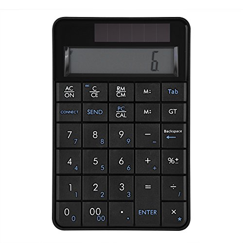 Mugast - Teclado numérico inalámbrico 2.4G portátil, Teclado numérico inalámbrico 2 en 1, Teclado numérico de 29 Teclas, Teclado numérico con Pantalla LCD para Windows XP/Vista/7/8/10/Mac, etc.