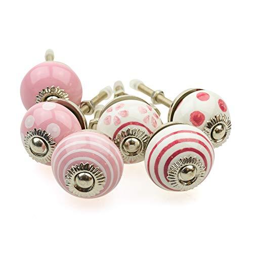 Jay Knopf 087GN_SM - Juego de 6 pomos para muebles (cerámica, porcelana, pintados a mano), diseño de lunares, color blanco y rosa