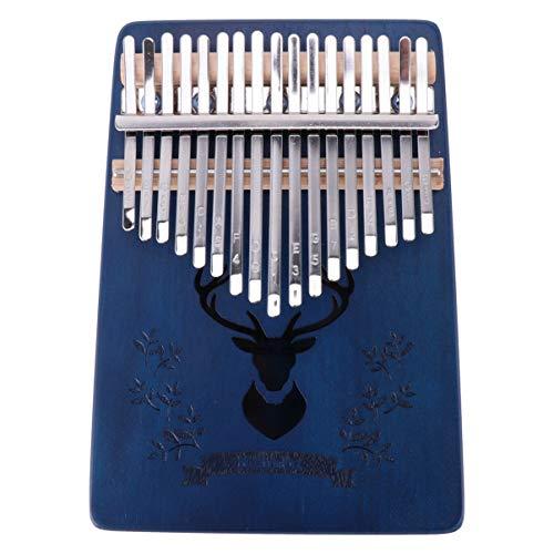 EXCEART Kalimba 17 Tasten Daumen Klavier Holz Finger Klavier Mbira Daumen Klavier Afrikanisches Bildungsinstrument für Kinder Erwachsene Anfänger (Blau)