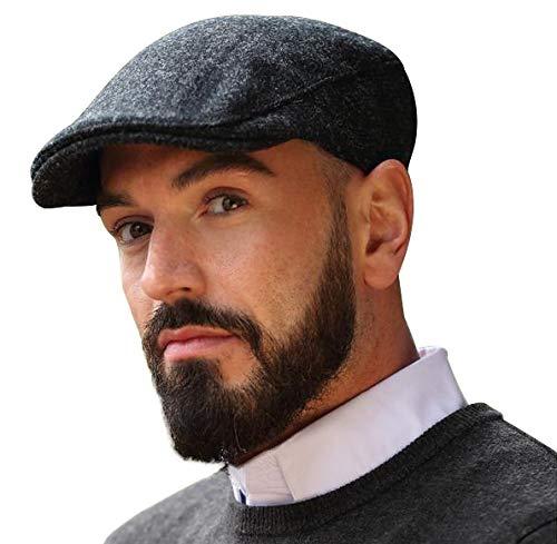 Hanna Hats of Donegal - Irish Ivy Cap, 100% Pure Irish Wool, Made in Ireland, Dark Gray