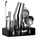 15-Piece Cocktail Shaker Bar Set with Bamboo Stand: 2 Weighted Boston Shakers, Cocktail Strainer Set, Double Jigger, Cocktail Muddler and Spoon, Ice Tong, 2 Liquor Pourers and Recipes Booklet