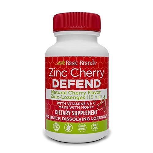 Basic Organics Pastillas de zinc sabor natural 100 tabletas Cereza