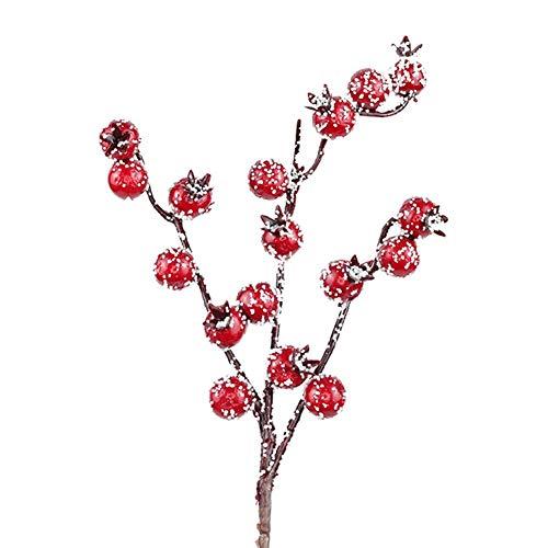 FYBlossom Künstliche Rote Beeren,Deko Zweige mit Roten Beeren Herbstzweige. 10 Stück Weihnachten Picks,Länge 20/26cm. Zweig Beeren Deko (02)