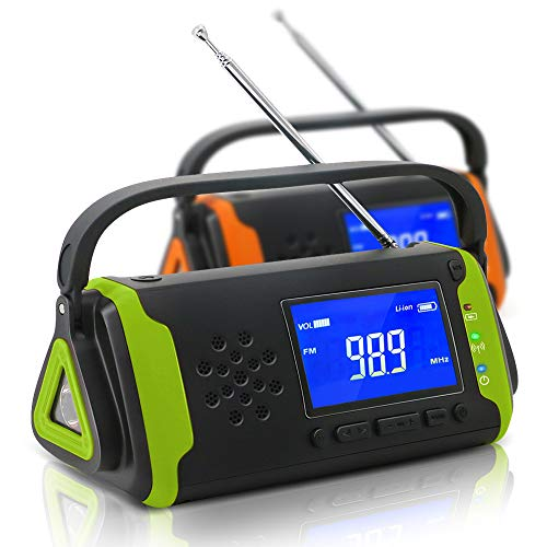 防災ラジオ 手回し充電 ソーラー充電 USB充電 大容量4000mAh 多機能 AM/FM 防災 台風 津波 地震 震災 停電緊急対策 SOSアラート アウトドア キャンプ (グリーン)