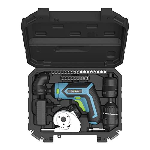Destornillador inalámbrico Howcon Hartool con accesorio de par de giro, batería de iones de litio de 1.5 Ah y amplio juego de puntas de 4 direcciones de giro, maletín de transporte con LED