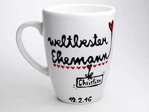 Geschenk Mann, Ehemann, Geschenk Tasse, Weltbester Ehemann, handbemalt und personalisiert