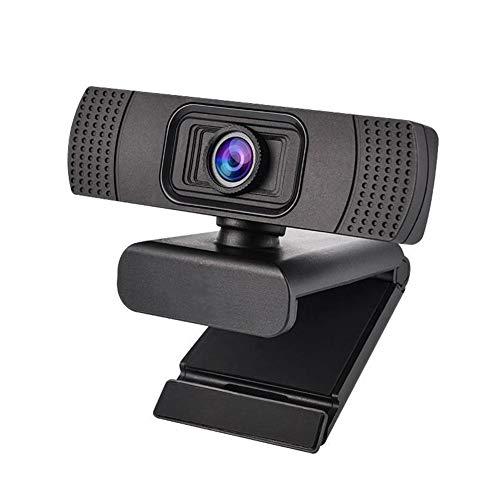 Webcam 1080P Full HD, webcam per computer con microfono incorporato girevole flessibile, mini plug and play, suitanle per laptop e desktop, nero